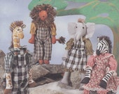 Out of the Wild - Patterns For Giraffe - Zebra - Lion - Elephant Dolls and Clothes - McCalls 7565 - ONE & ONLY creations
