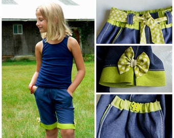 Bermuda Shorts PDF Sewing Pattern - Age 1-2 up to 12-14 / The Maisy , Video instructions,pants,Nautical,Retro, Boho, capri, shorts, cute