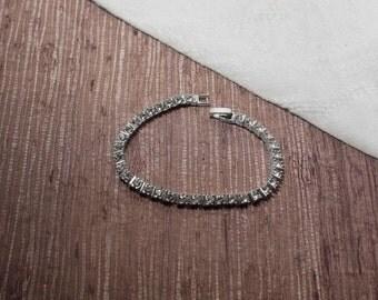 Silver Tone Thick Rhinestone Tennis Bracelet