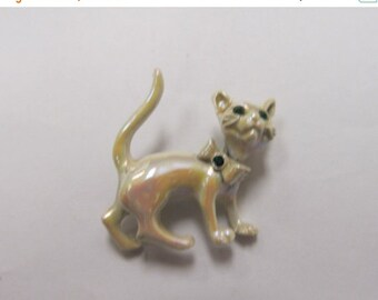 On Sale Vintage Iridescent Movable Cat Pin Item K # 547