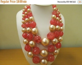 On Sale HONG KONG Large Pink and Faux Pearl Triple Strand Beaded Necklace Item K # 75