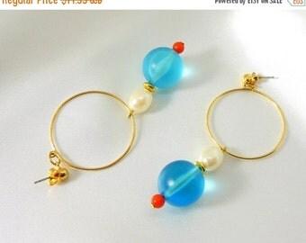 Biggest Sale Ever Vintage Earrings AVON Hoop Red Blue Pearl Beads