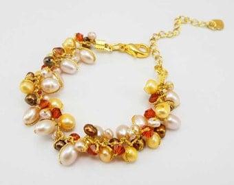 Brown freshwater pearl,crystal bracelet.