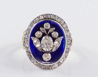 A rare 1790 royal blue Bristol glass and diamond Giardinetti ring