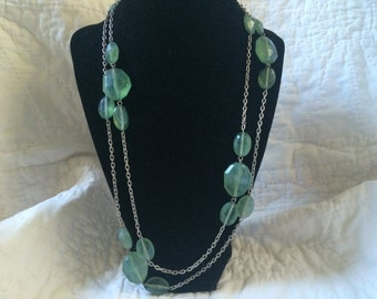 Vintage Silvertone and Green Plastic Beaded Design Necklace, 48'' Long