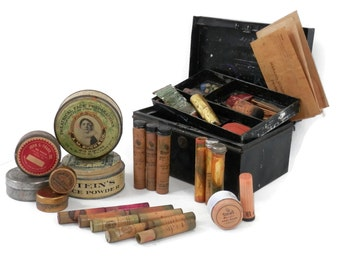 19th Century Stage and Theater Make Up Kit with Mustache Disguises and Tins All Original