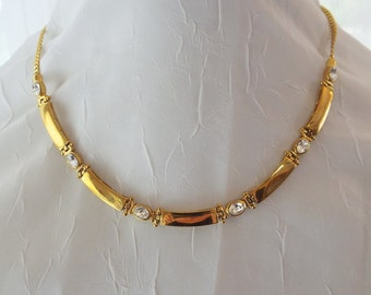 Gold and Clear Beautiful Rhinestone Necklace