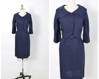 Vintage 1950s 50s Silk Dress and Jacket Set with Belt Navy Women's Suit