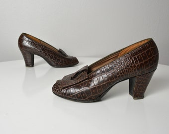 Vintage 1940s 40s Open Peep Toe Pumps