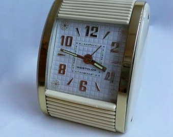 Vintage Westclox Travel Alarm Clock Roll Top Creamy White Gold Accents Model 42014