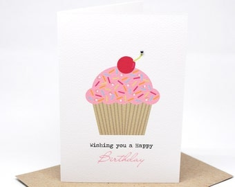Birthday Card Girl - Pink Cupcake with Cherry - HBC184 / Happy Birthday for the Birthday Girl