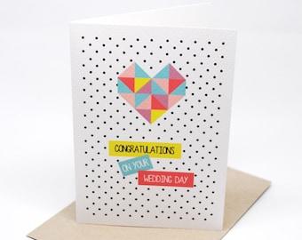 Wedding Card - Geometric Bright Heart - WED042 - Congratulations on Your Wedding Day Card