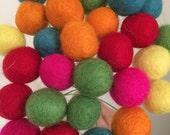 CUSTOM ORDER Felt Ball Flower Bouquet - Rainbow (red, pink, orange, yellow, green, blue) 2cm wool felted ball craspedia, billy ball, buttons