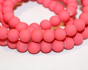 80pc Flamingo Pink Beads Rubberized Glass Necklace Beads/ Bracelet beads