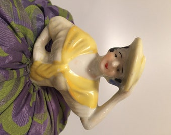 1920s Vintage, Porcelain Doll, PINCUSHION Doll, Half Doll, Art Deco Era Pincushion Lady with Hat