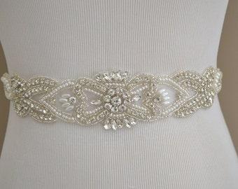 Wedding Belt, Bridal Belt, Sash Belt, Crystal Rhinestone Belt, Off White Sash
