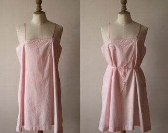 Cotton slip dress, nightgown, light pink, Embroidery, Lingerie 1920's