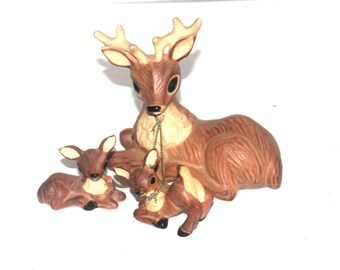 Japan Deer Figures, Mama and Babies, Japanese,  Antique Alchemy