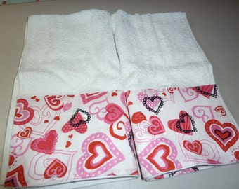 Valentine's Day Hearts on White Decorative Hand Towels (Set of 2)  for Kitchen, Bath or Powder Room