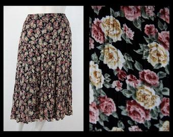 Vintage Floral Skirt - 1990s Nostalgia Floral Skirt Medium - XL