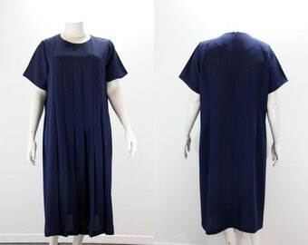 Plus Size Dress - Basic Navy Blue Dress w Drop Pleated Front