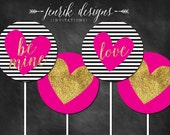 Valentine's Day Cupcake Toppers || Black & White Stripes, Hot Pink, Gold