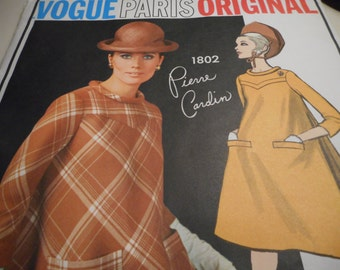 Vintage 1960's Vogue 1802 Paris Original 1802 Pierre Cardin Dress Sewing Pattern, Size 12 Bust 32
