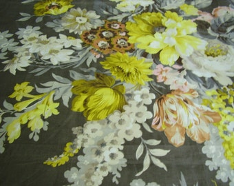 Vintage 1950's, 60's Grey, Taupes, Yellows, Peach, Apricot Colors Floral Polished Cotton Fabric, BTY