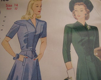 Vintage 1940's Simplicity 4106 Dress Sewing Pattern, Size 14, Bust 32