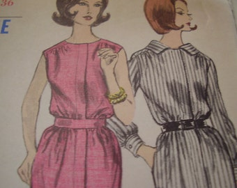 Vintage 1960's Vogue 5871 Dress Sewing Pattern, Size 14, Bust 36