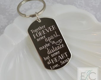 together forever, never apart engraved stainless steel key chain | personalized dog tag keychain