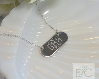 Engraved monogram necklace, gorgeous quality by ElizaJayCharm