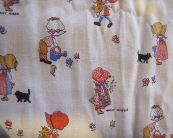 1970's Holly Hobbie Fabric, Holly Hobbie, White, Quilter Weight, Cotton, 1970's, Juvenile Fabric, Country