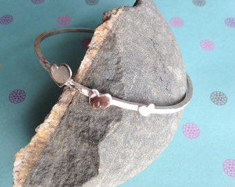 Sterling  Silver Heart Bangle  textured handmade.