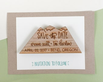 Wood Save the Date Magnets - save the date invitations - custom save the dates - wood slice save the dates - mountains - camp wedding S3002