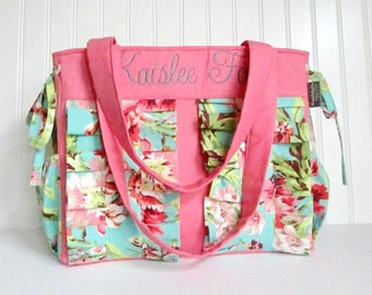Pink Diaper Bag in Amy Butler Bliss and Coral with Monogramming for Baby Girl Zipper Closure 9 Pockets