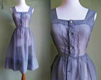 1940s/50s  Westerly Winds Dress - Checkered Navy and White Sheer Dress - XS / Small
