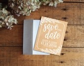 Save the Date, Kraft Paper Save the Date, Rustic Save the Date, Floral Save the Date, Printable Save the Date