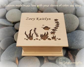 music box, wooden music box, custom made music box, flower, flower girl gift, beach wedding, personalized music box, musical box,