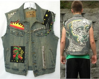 Upcycled Denim Trucker Vest Studs Rasta Hippie Festival Cut Off Jean Jacket Mens Small
