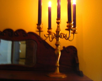 5 candle brass  candle holder candelabra spooky halloweeen fun fine dining rustic home decor seance storytelling