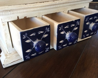 WOOD JEWELRY / TRINKET Box - Blue and White Porcelain  Little Drawers- Blue and White Decor - Desk Organizer