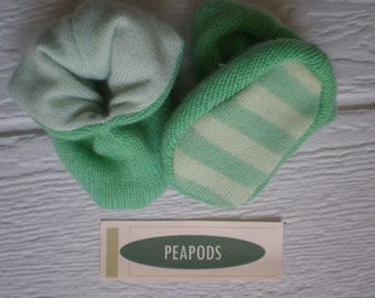 Cashmere slippers, PEAPOD baby booties, soft slippers, mint green, double thick 100% cashmere, size 3-9 months
