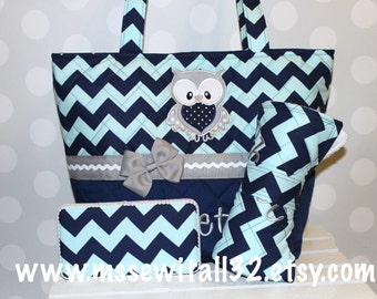 XL Quilted / Navy Chevron / Owl /  Diaper Bag Set- Wipes Case - Changing Pad