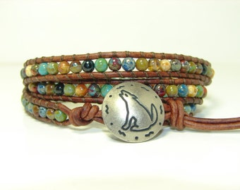 Multicolor Picasso Beaded Leather Wrap Bracelet, Triple Wrap Bracelet, Boho, Coyote Wrap Bracelet