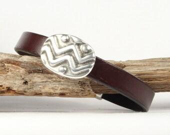 Brown leather bracelet men's, Waves slider, Magnetic clasp, CarolMade Ms6