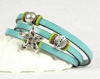 Leather wrap bracelet, Aqua leather bracelet, Beach theme jewelry,  Magnetic clasp, CarolMade L73