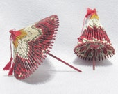 Pair of Miniature Umbrella Props - Vintage Mid Century Origami  - WWII Wagasa Umbrella Style - Fixed Position with Wax Coating - Asian Decor