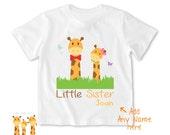 Little sister shirt Giraffes Tshirt - Personalized Little brother Shirt or Bodysuit - 054_BB_2C_Giraffes
