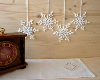 Crochet white handmade Christmas snowflakes decoration miniature ornament Tree Holiday decor Gift idea Home decor Table decoration
